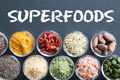 Selection of superfoods on a black background Royalty Free Stock Photo