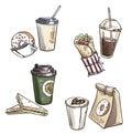 Selection of takeaway snacks. takeaway packaging. Fast food.