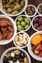 Selection of tapas in ceramic bowls Royalty Free Stock Photo