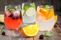 Selection of three kinds of gin tonic Royalty Free Stock Photo