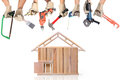 Selection of tools in the shape of a house home improvement concept Stock Images