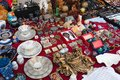 Antique flea market. Antiquities, vintage dishes Royalty Free Stock Photo