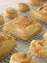 Selection of Vol au vents on a Cooling rack Royalty Free Stock Photo