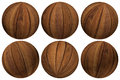 Selection wooden balls set various angles Stock Image