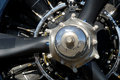 Selective Closeup of Radial Aircraft Engine Stock Image