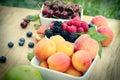 Selective focus on blackberry (bramble, brambleberry) - fresh organic fruts Royalty Free Stock Photo