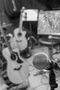 Selective focus microphone and blur musical equipment guitar ,ba Royalty Free Stock Photo