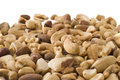 Selective focus mixed nuts white copy space background Royalty Free Stock Photos