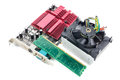 Selective focus mother board,cooler fan,ram card on white backgr Royalty Free Stock Photo