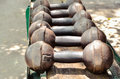 Selective focus of old dumbbell outdoor view rust weights Royalty Free Stock Images