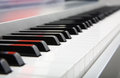Selective focus of a piano keyboard closeup keys Stock Images