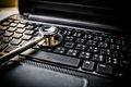 Selective focus Stethoscope on laptop keyboard - health care and Royalty Free Stock Photo
