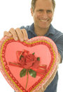 Selective focus Valentine candy box middle age man Stock Images
