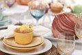 Selective focus view of easter dining scene a low angle Stock Photography