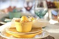 Selective focus view of easter dining scene a low angle Stock Image