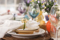 Selective focus view of spring or easter dining place settings a low angle Royalty Free Stock Image