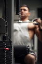 Selective focus of weight stack in a gym Royalty Free Stock Photo