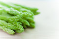Selective focusing asparagus on white Royalty Free Stock Photo