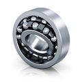 Self aligning ball bearing metal steel shiny on white background with reflection effect Royalty Free Stock Image