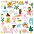 Self care and well-being clipart set Royalty Free Stock Photo