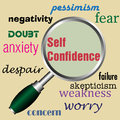 Self confidence abstract colorful illustration with the text written in red under a magnifying glass Stock Photography