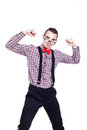 Self confident nerd man showing his power isolated on white background Stock Image