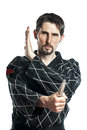 Self defense exercise with knife man in combat dress do a Royalty Free Stock Photo
