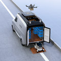 Self-driving delivery robots and van