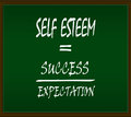 Self esteem formula on green background and brown frame Royalty Free Stock Photo