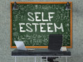 Self esteem hand drawn on green chalkboard d render in modern office workplace illustration with doodle design elements Stock Photography