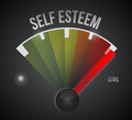 Self esteem level measure meter from low to high Royalty Free Stock Photo