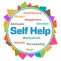 Self Help Word Cloud Colorful Abstract Circular