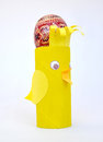 Self-made support chicken for a colored Easter egg Royalty Free Stock Photo