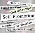 Self promotion headlines marketing publicity attention words and phrases in torn or ripped newspaper to illustrate getting or from Royalty Free Stock Photos
