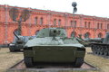 Self-propelled guns on the territory of museum in cloudy weather