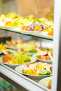 Self service buffet fresh healthy salad selection Royalty Free Stock Photo
