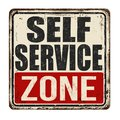 Self service zone vintage rusty metal sign