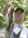 Selfie with bass photo of me a lb largemouth that i caught on a plastic worm from the c o canal in maryland during august the Royalty Free Stock Photos