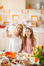 Selfie with daughter in kitchen for Easter Royalty Free Stock Photo
