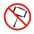 Selfie forbidden icon, with no sign, isolated on white