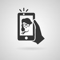 Selfie icon with trendy woman vector symbol taking a self portrait on smart phone illustration Royalty Free Stock Photo