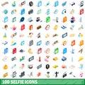 100 selfie icons set, isometric 3d style
