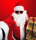 Selfie of santa claus with gifts photography Stock Photography