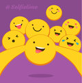 Selfie time. The yellow smiles with different emotions taking a selfie. Flat design for social networking, blogging Royalty Free Stock Photo