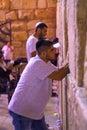 Selichot jewish penitential prays in the western wall jerusalem israel september men pray old city of jerusalem Stock Photo