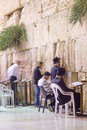 Selichot jewish penitential prays in the western wall jerusalem israel september men pray old city of jerusalem Stock Image