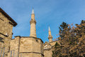 Selimiye mosque spires nicosia cyprus twin of the st sophia cathedral behind the bedestan st nicolas church in central northern Stock Image