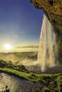 Seljalandsfoss waterfall in south iceland with sunlight Stock Photos
