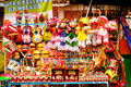 Sell of beautiful colorful mexican toys in Xohimilco, Mexico. Royalty Free Stock Photo