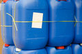 Sell of blue plastic gallon many Stock Image